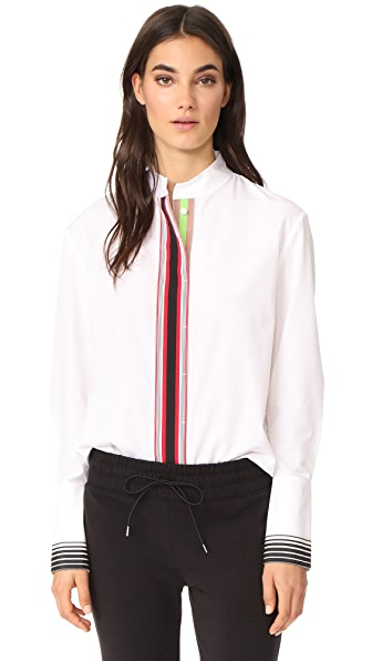 Diane von Furstenberg Stripe Placket Button Down Top - White