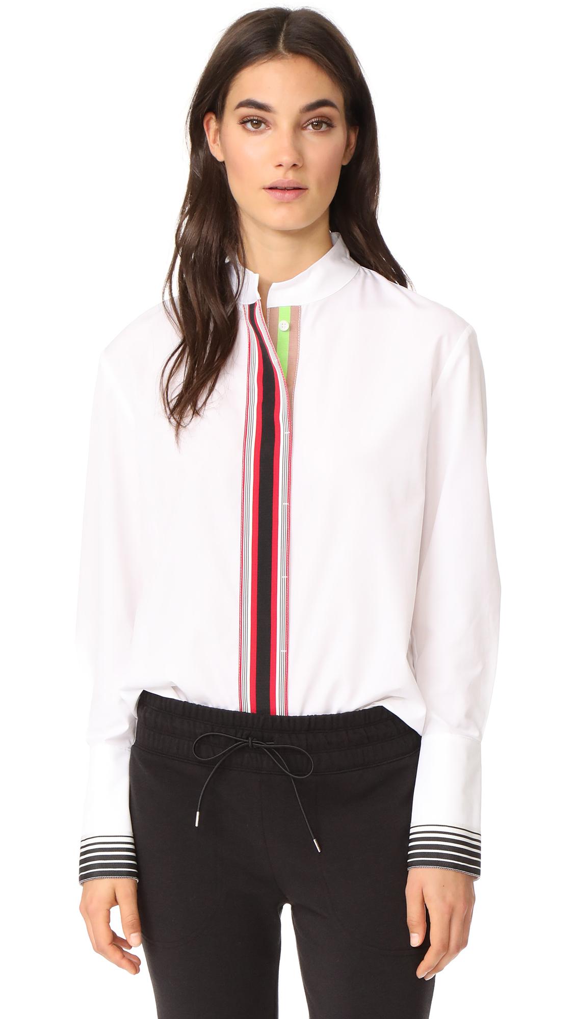 Diane von Furstenberg Stripe Placket Button Down Top - White