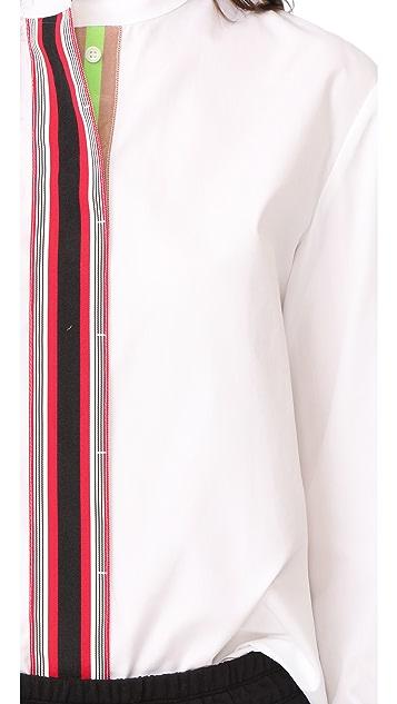 Diane von Furstenberg Stripe Placket Button Down Top