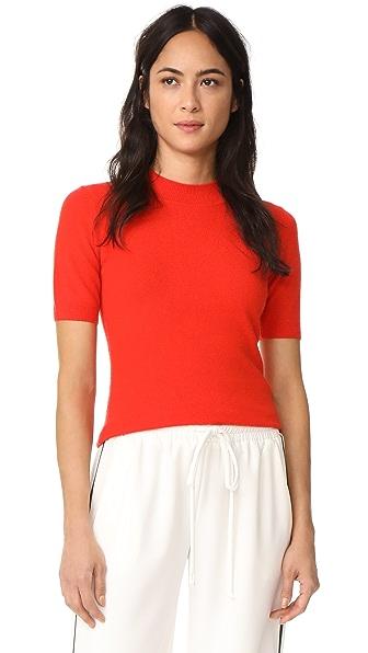 Diane von Furstenberg Mock Cashmere Pullover In Bright Red
