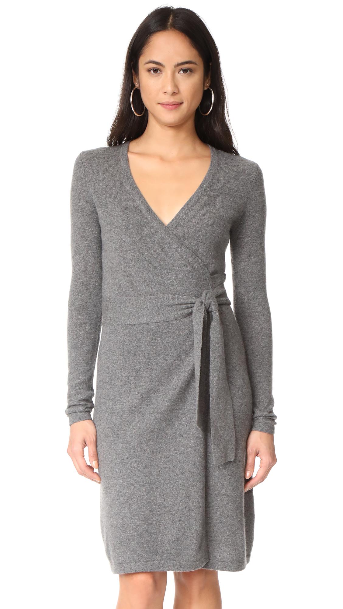 Diane von Furstenberg New Linda Cashmere Wrap Dress - Grey Melange