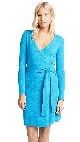 Diane von Furstenberg New Linda Cashmere Wrap Dress In Cerulean