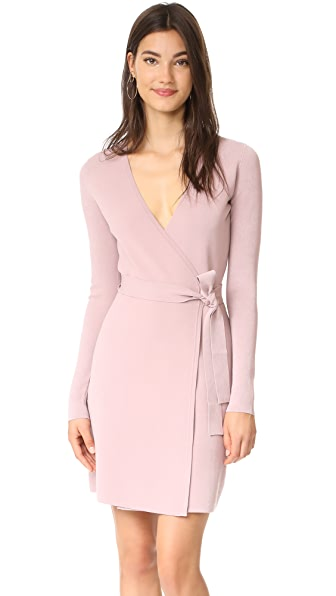 Diane von Furstenberg V Neck Knit Wrap Dress - Mauve