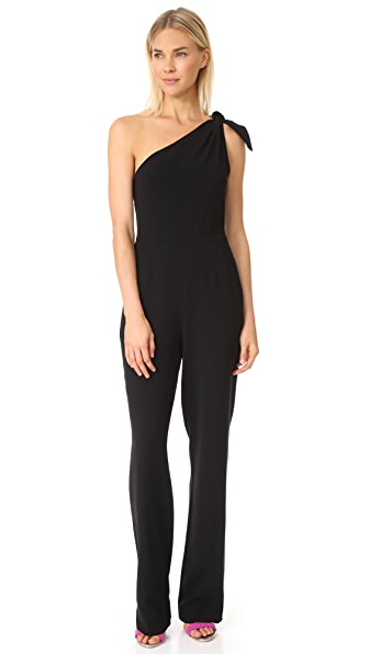 Diane von Furstenberg One Shoulder Knot Jumpsuit - Black