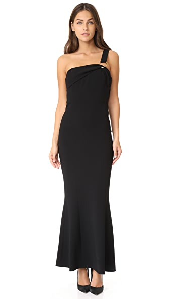 Diane von Furstenberg One Shoulder Fluid Gown In Black