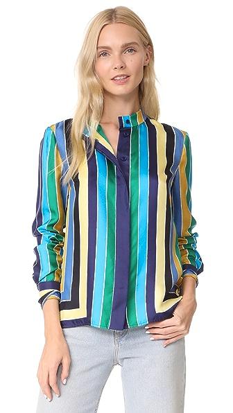 Diane von Furstenberg Cuffed Button Down Shirt In Dorian Stripe Multi Violet