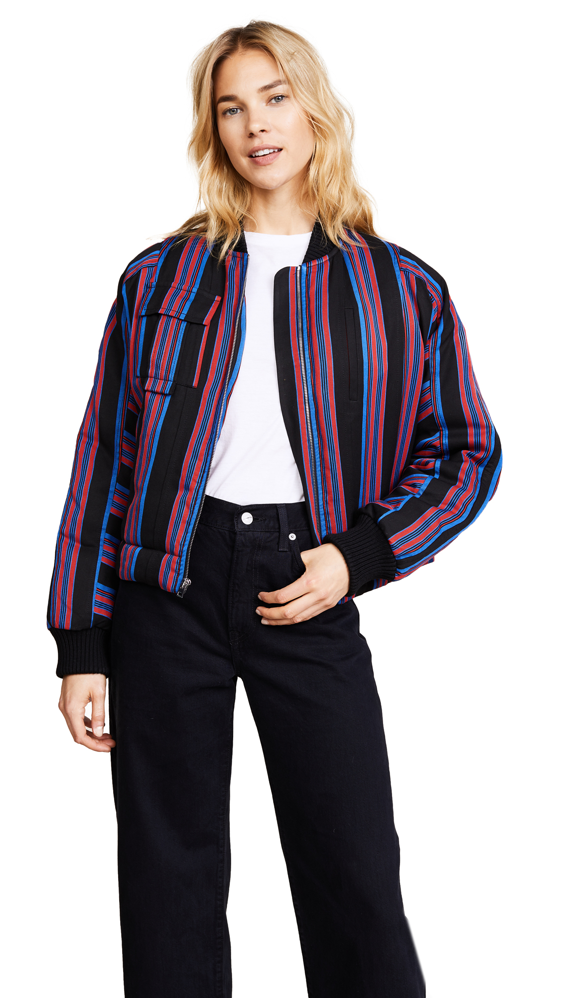 Diane von Furstenberg Bomber Jacket - Black/Royal/Bright Red