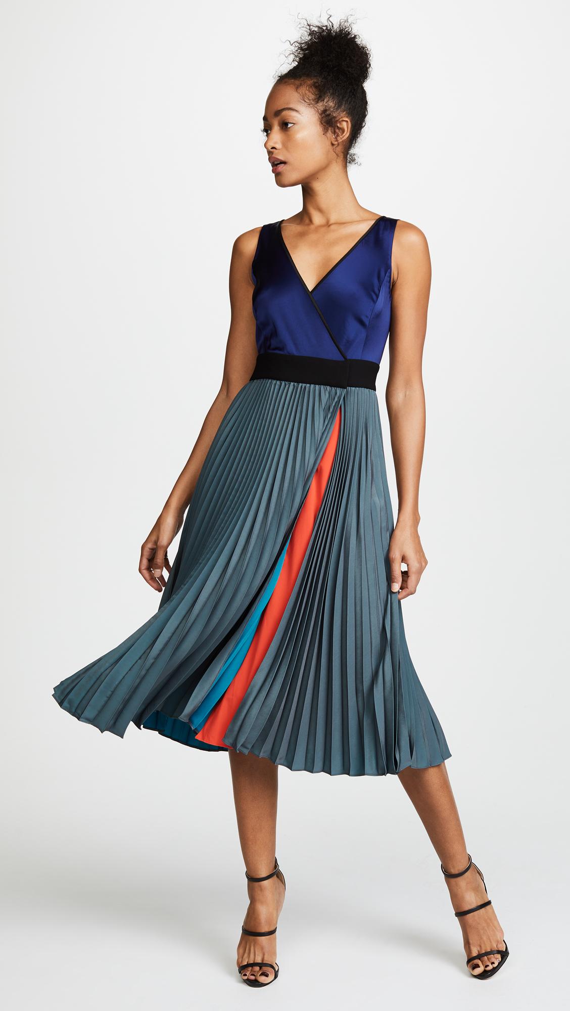 87355a53147ef Diane von Furstenberg Sleeveless V Neck Pleated Wrap Dress | SHOPBOP