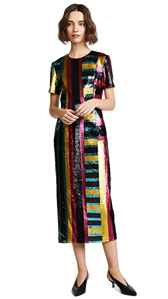 Diane von Furstenberg Sequin Dress In Saxon Stripe Lemon/Black