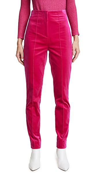 Diane von Furstenberg High Waisted Skinny Velvet Pants In Hot Pink