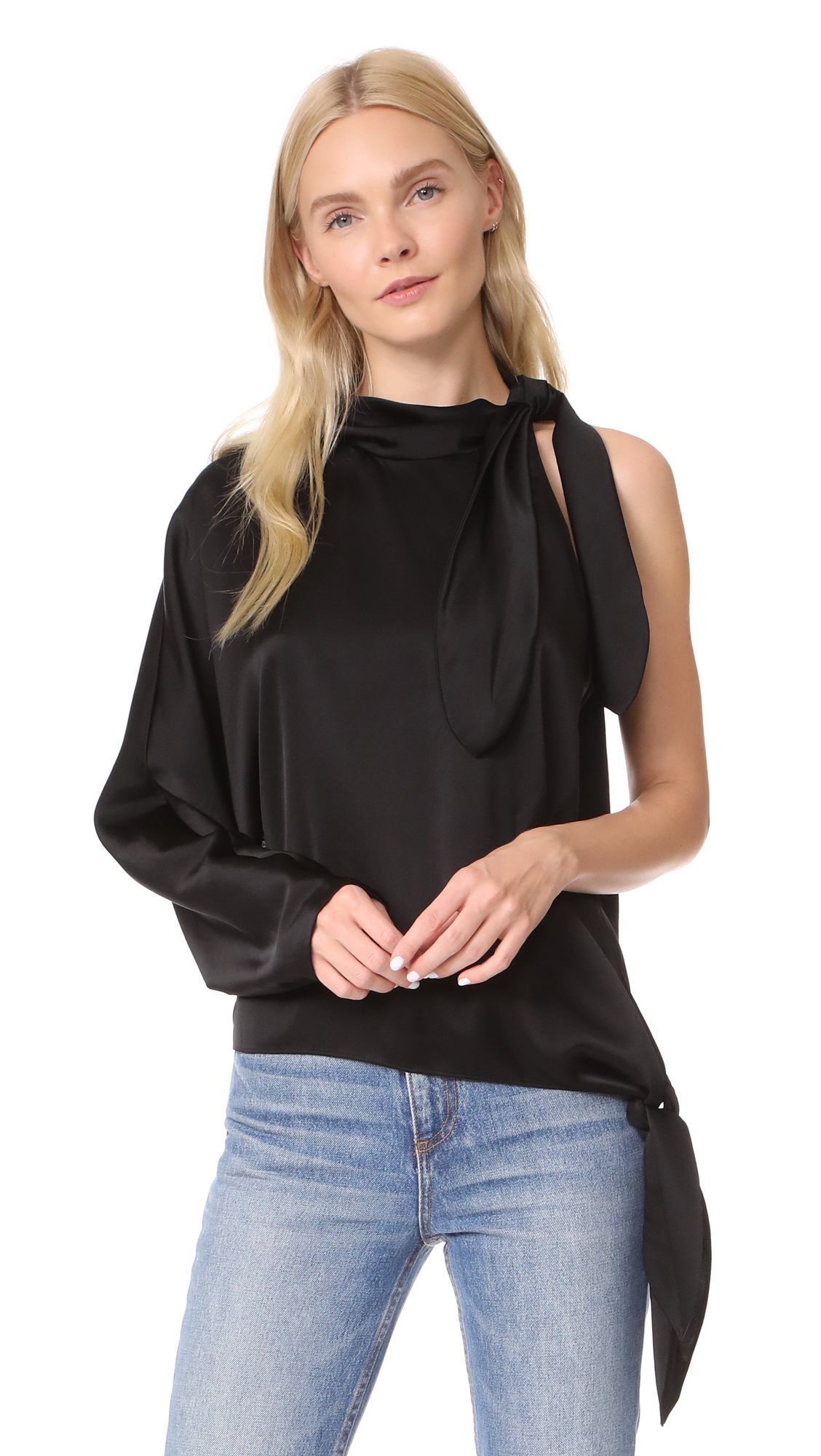 Diane von Furstenberg One Shoulder Knotted Blouse - Black