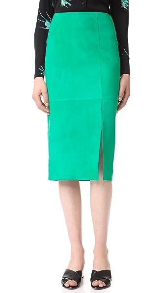Diane von Furstenberg Замшевая юбка с разрезом сбоку