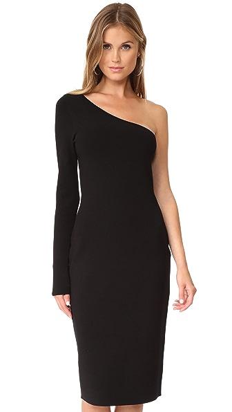Diane von Furstenberg One Shoulder Long Sleeve Knit Dress - Black