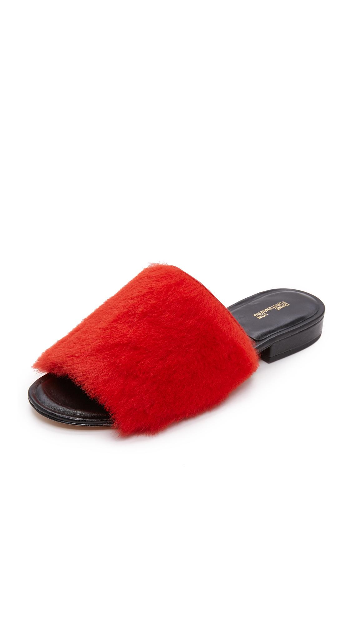 Diane von Furstenberg Santi Shearling Slides - Red