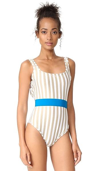 Diane von Furstenberg Classic One Piece Swimsuit - White/Gold/Turquoise