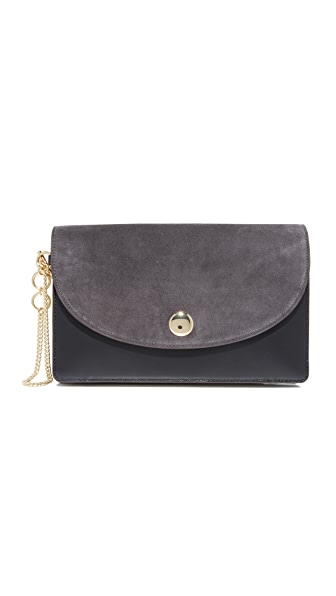 Diane von Furstenberg Saddle Evening Clutch - Ash/Black