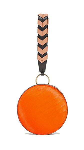 Diane von Furstenberg Circle Wristlet - Orange/Black/Camel