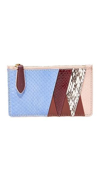 Diane von Furstenberg Zip Top Card Case - Powder Blue/Bordeaux/Pink