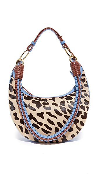 Diane von Furstenberg Mini Sling Shoulder Bag - Leopard/Powder Blue