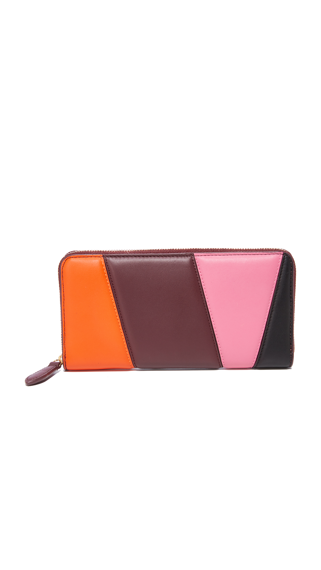 Diane von Furstenberg Continental Wallet - Orange/Bordeaux/Pink Azalea