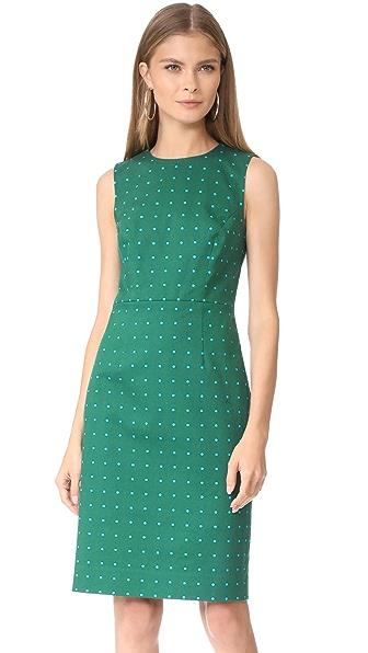 Diane von Furstenberg Sleeveless Tailored Dress - Arbor Dot Bottle Green