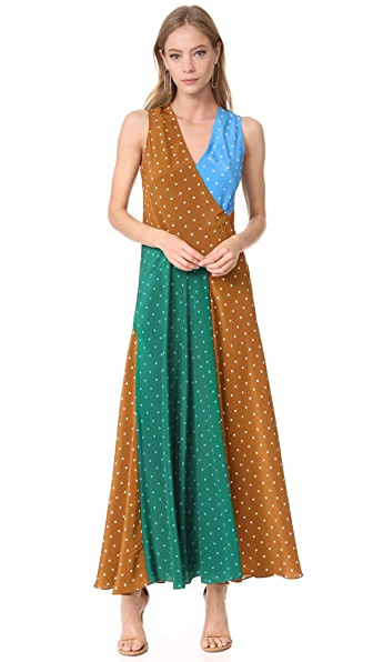Diane von Furstenberg Sleeveless Draped Floor Length Dress - Arbor Dot Kola