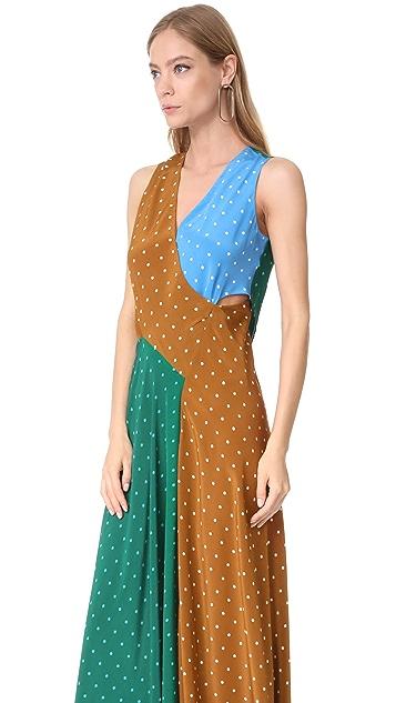 ... Diane Von Furstenberg Sleeveless Draped Floor Length Dress ...