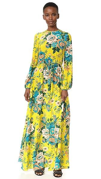 Diane von Furstenberg Long Sleeve Crew Neck Floor Length Dress - Bournier Acid Yellow