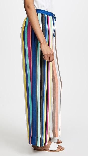 Diane von Furstenberg Beach Linen Wide Leg Pants