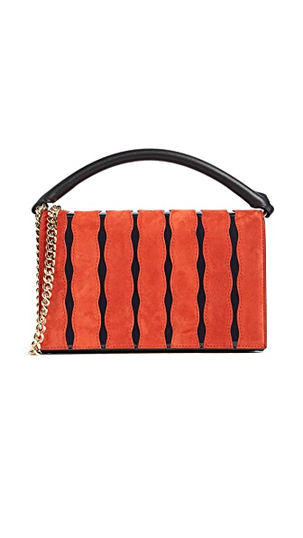 Diane von Furstenberg Soiree Top Handle Cross Body Bag In Bright Red/Alexander Navy