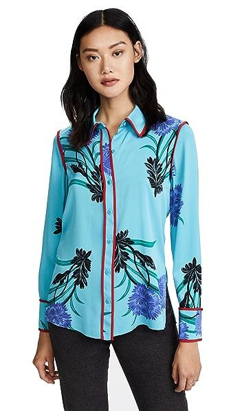Diane von Furstenberg L/S Collared Shirt In Farren Marine/Lipstick