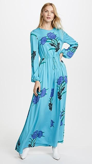 Diane Von Furstenberg Long Sleeve Crew Neck Floor Length Dress ...