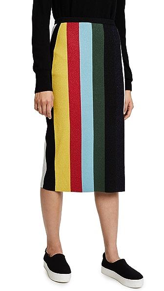 Diane von Furstenberg Midi Knit Metallic Pencil Skirt