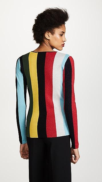 Diane von Furstenberg Crew Neck Metallic Pullover