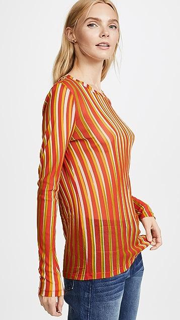 Diane von Furstenberg Long Sleeve Fitted Mesh Pullover
