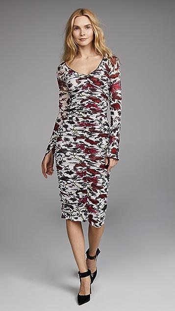 Diane von Furstenberg Long Sleeve V Neck Overlay Midi Dress