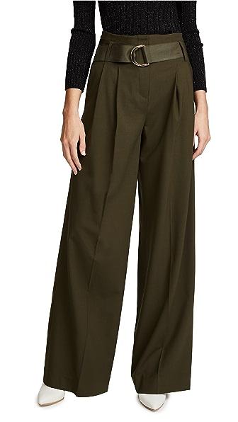 Diane von Furstenberg Wide Leg Belted Pants In Olive