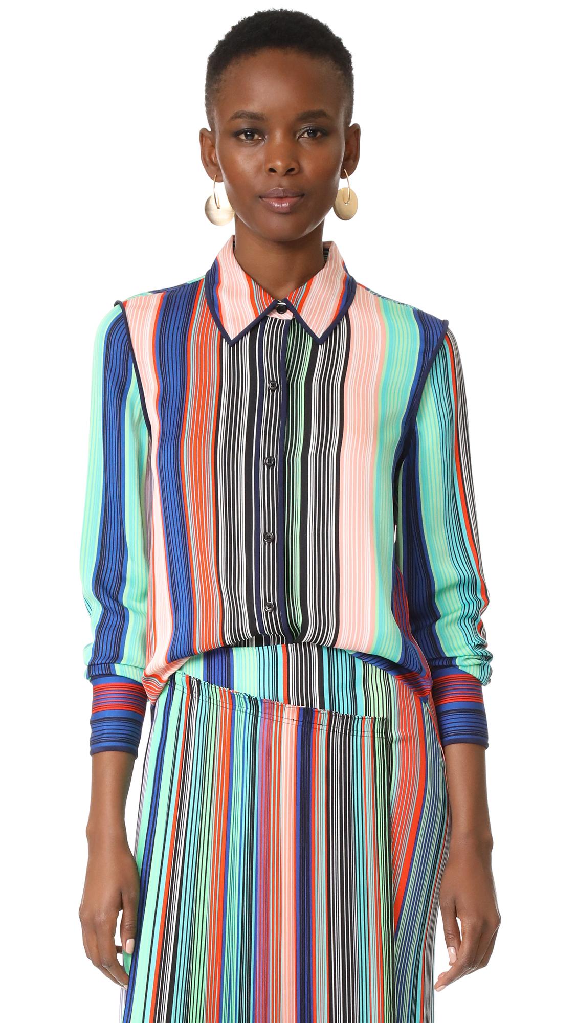 Diane von Furstenberg Collared Shirt - Burman Stripe Multi/Midnight