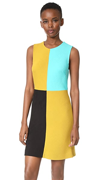 Diane von Furstenberg Mini Shift Dress - Mustard/Black/Bright Aqua