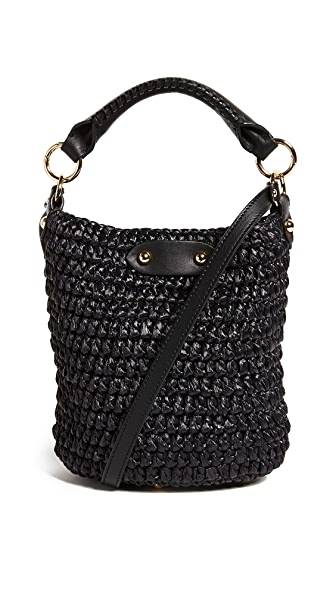 Diane von Furstenberg Mini Raffia Bucket Bag In Black