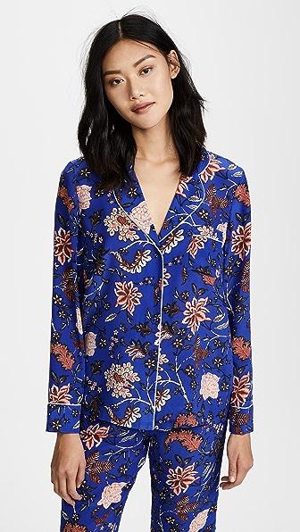 Купить Diane von Furstenberg Пижамный топ с длинными рукавами синий Canton электрик/темно-яичный