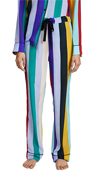 Diane von Furstenberg Wide Leg PJ Bottoms In Carson Stripe Multi/Black