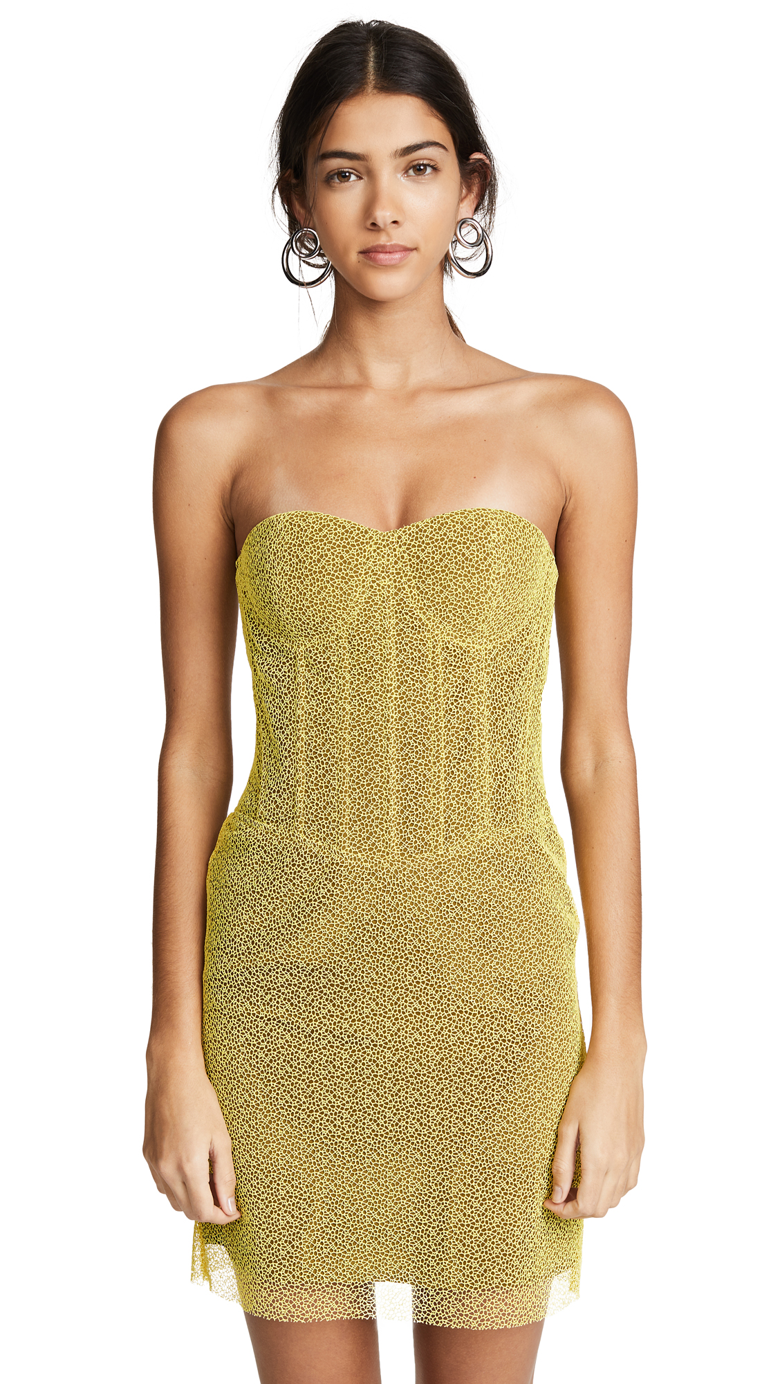 Diane von Furstenberg Corset Dress In Chrome Yellow/Cardamom