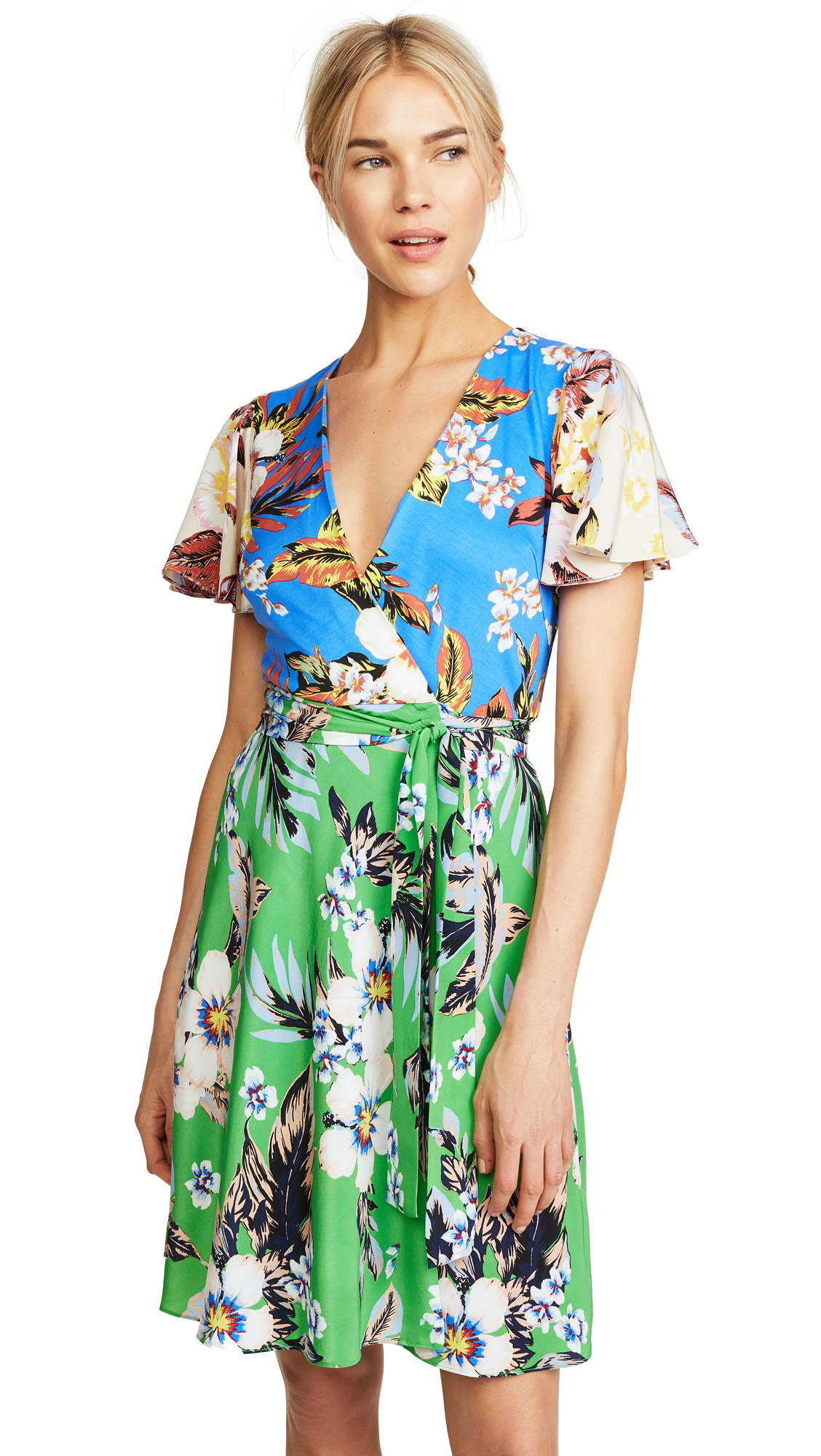 Diane von Furstenberg Flutter Sleeve Front Tie Dress In Bolan Palm Multi