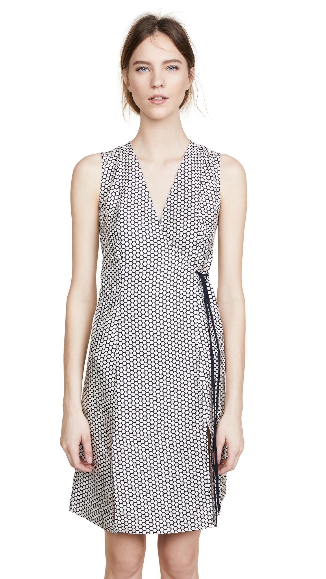 Diane von Furstenberg Side Tie Flare Dress In Rowe Dot Ivory/Alexander Navy