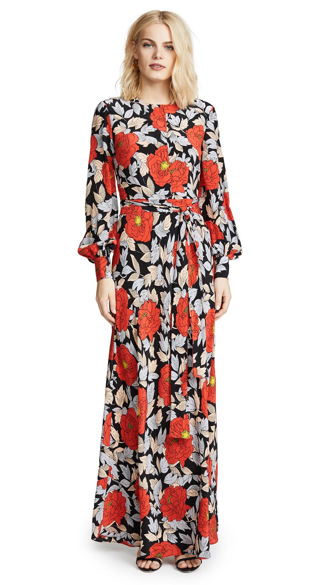 Diane von Furstenberg Waist Tie Maxi Dress In Boswell Black