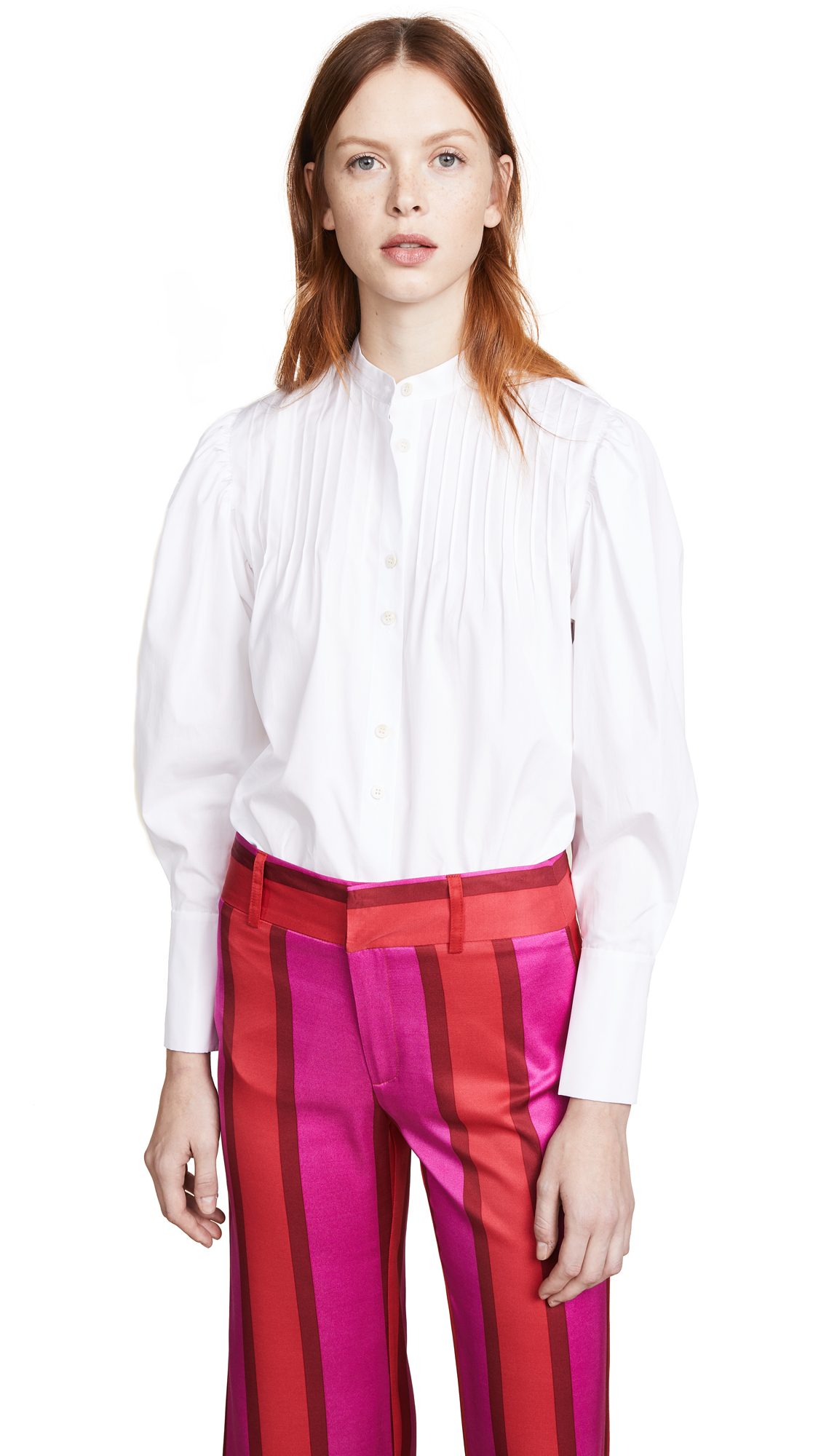 Diane von Furstenberg Pin Tuck Shirt - White