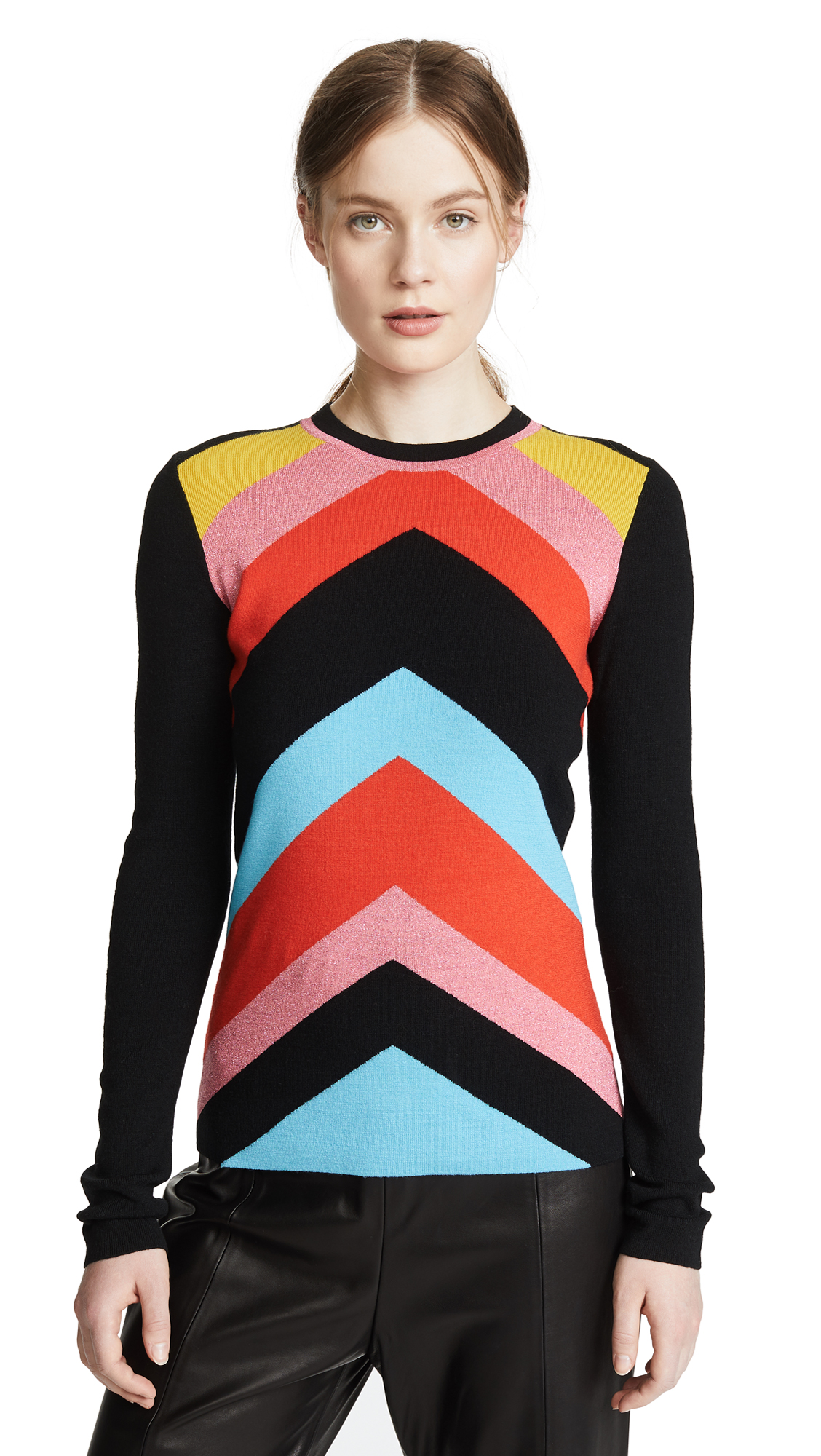 02b54098906d Diane Von Furstenberg Rainbow Chevron-Stripe Crewneck Sweater In Poppy Multi
