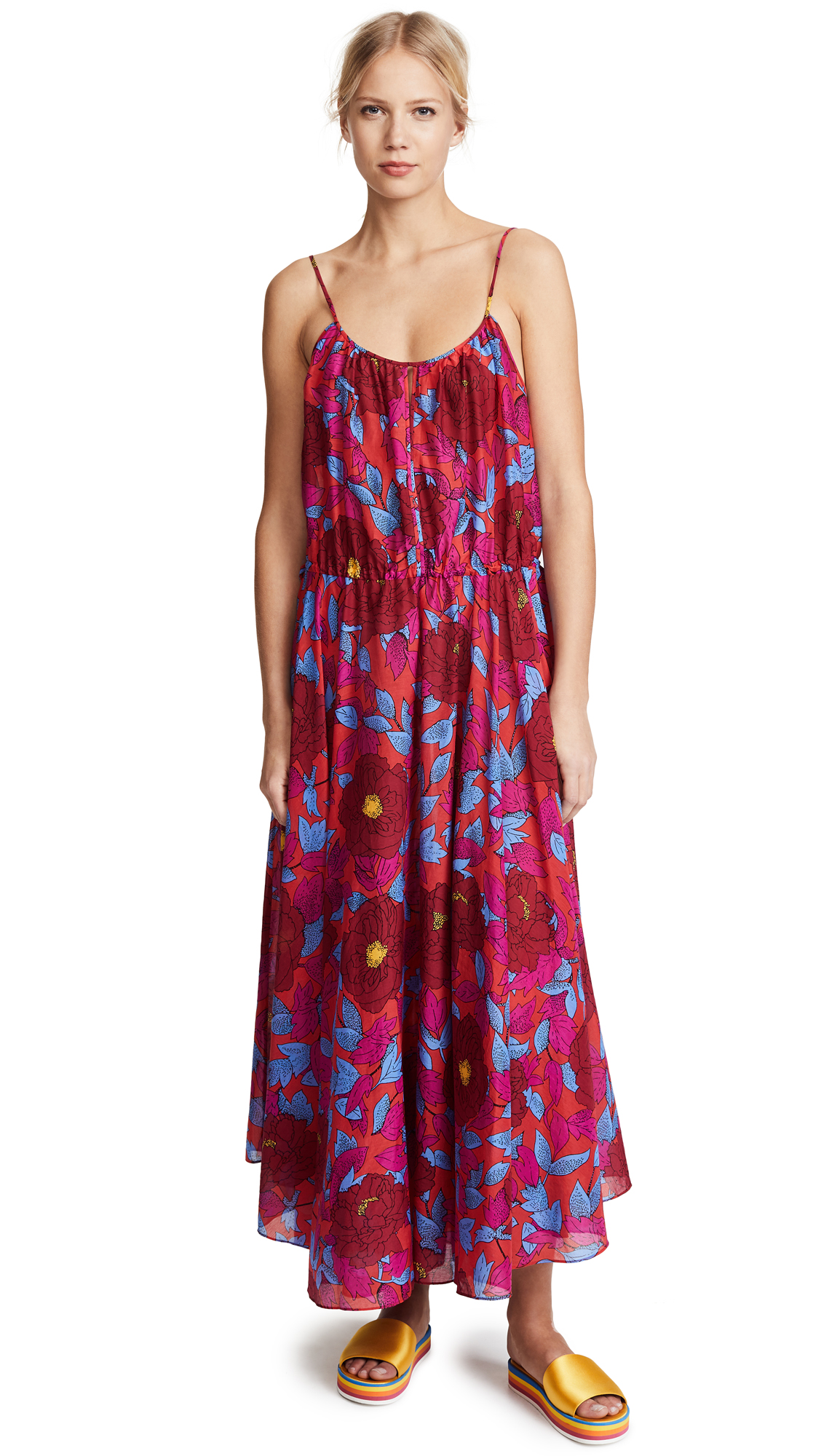 Diane von Furstenberg Cinched Waist Maxi Dress - Boswell Geranium