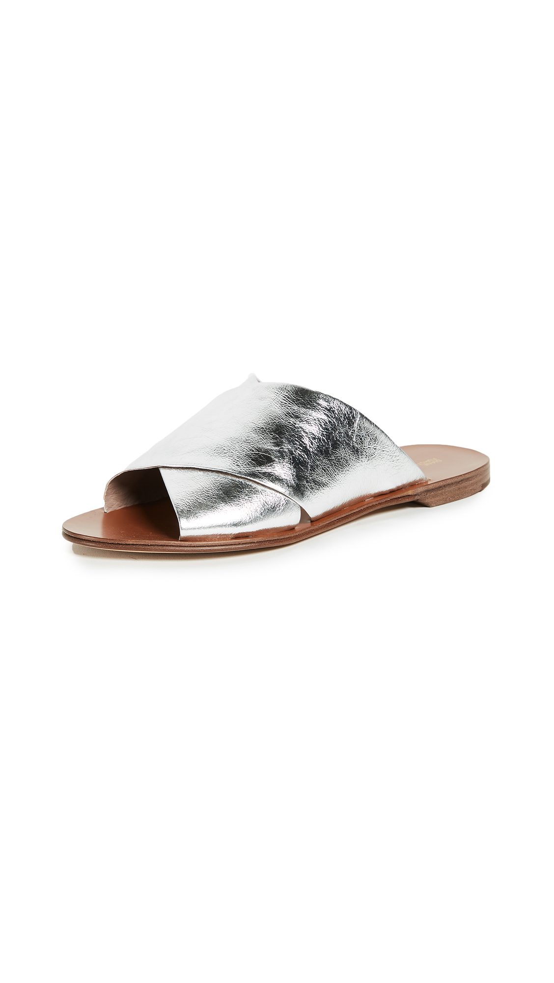 Diane von Furstenberg Bailie Crisscross Slides - Silver
